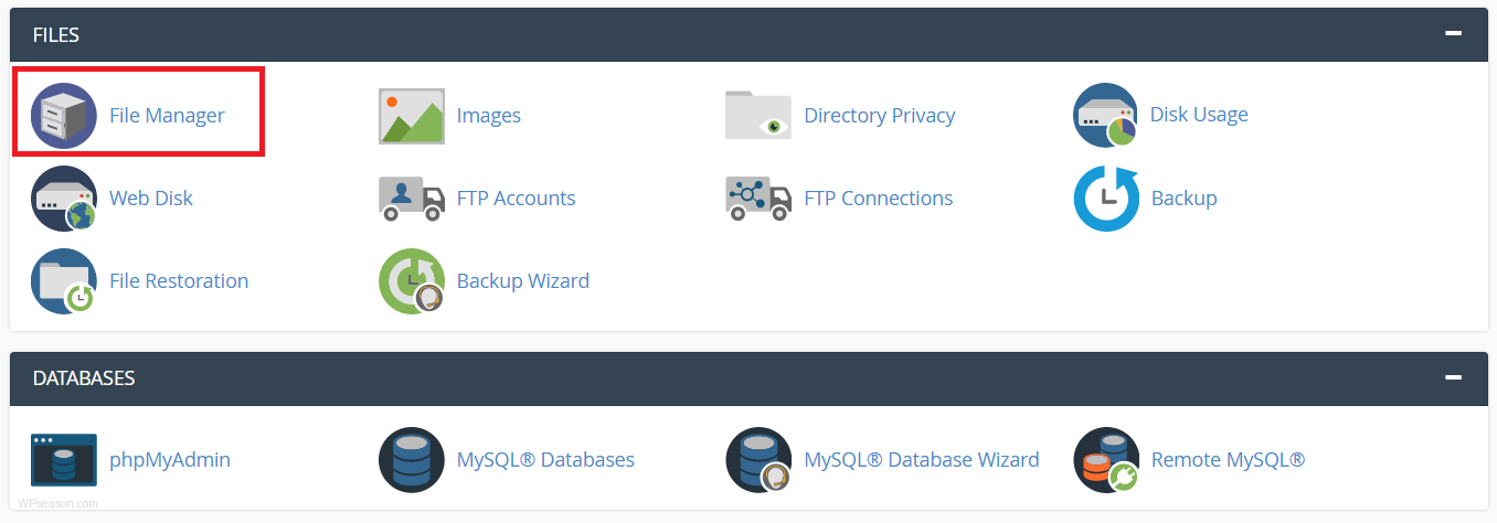 cpanel-homepage -filemanager