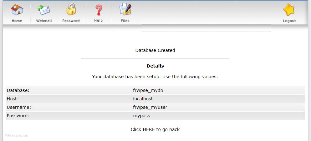 directadmin database info