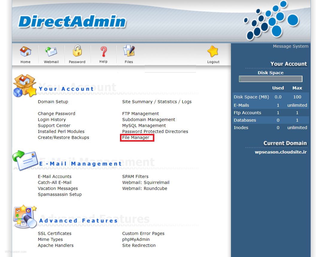 directadmin homepage