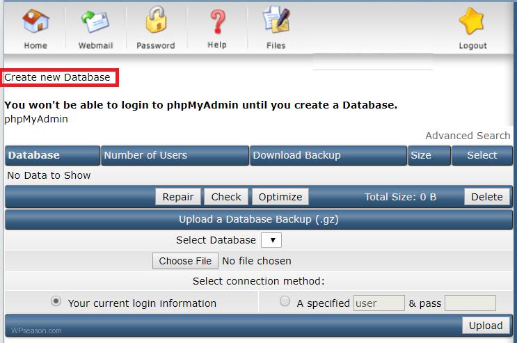 directadmin new database