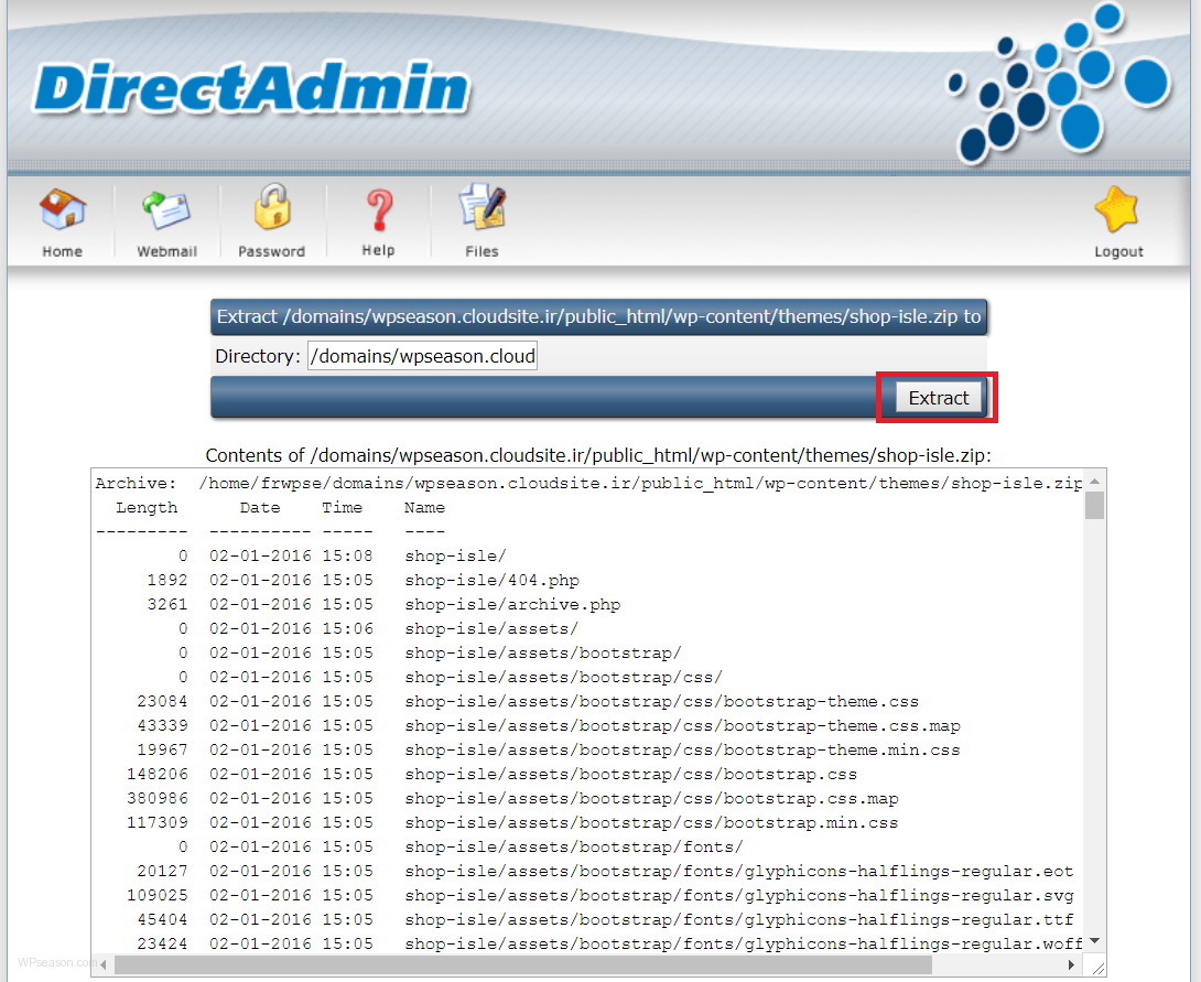 directadmin theme extract2