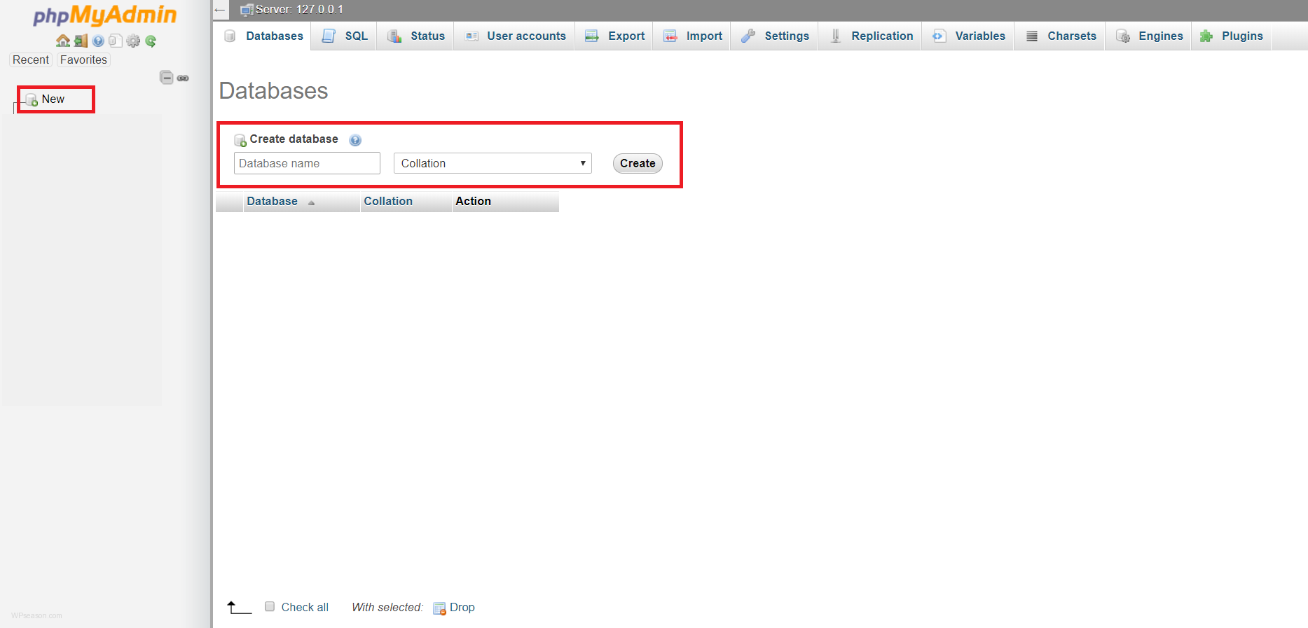 phpmyadmin new database