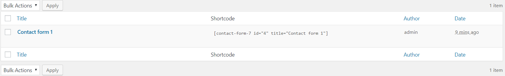 contact form 7 shortcode