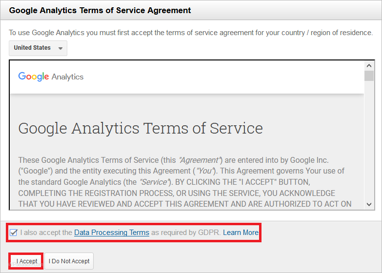 google analytics agreement