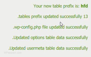 Change Table Prefix confirmation