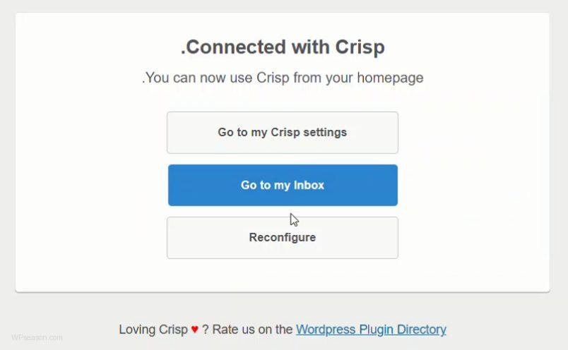 Crisp Live Chat wordpress settings