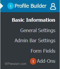 Profile Builder Menu