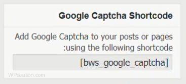Google Captcha shortcode