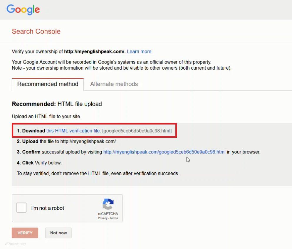 Google Webmasters Tools verify method