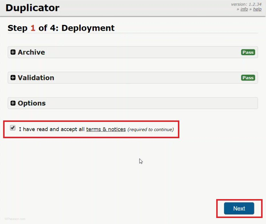install package duplicator step 1