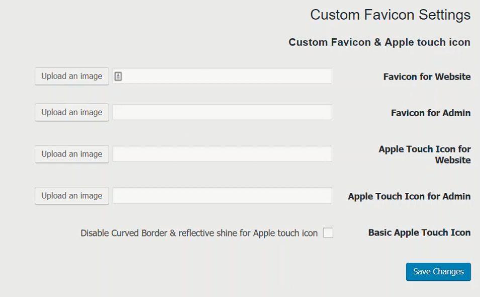 Favicon custome favicon settings
