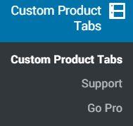 Custom Product Tabs for WooCommerce menu