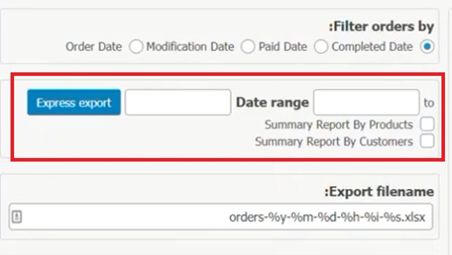 woo order export lite date